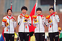 (L to R) Sayaka Aoki (JPN), Chisato Tanaka (JPN), Satomi Kubokura (JPN), Miho Shingu (JPN), ..JULY 10, 2011 - Athletics :The 19th Asian Athletics Championships Hyogo/Kobe, Women's 4x400m Relay Final at Kobe Sports Park Stadium, Hyogo ,Japan. (Photo by Jun Tsukida/AFLO SPORT) [0003]