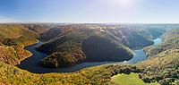 France, Correze, Hautefage, Maronne valley in autumn (aerial view) // France, Corrèze (19), Hautefage, vallée de la Maronne en automne (vue aérienne)