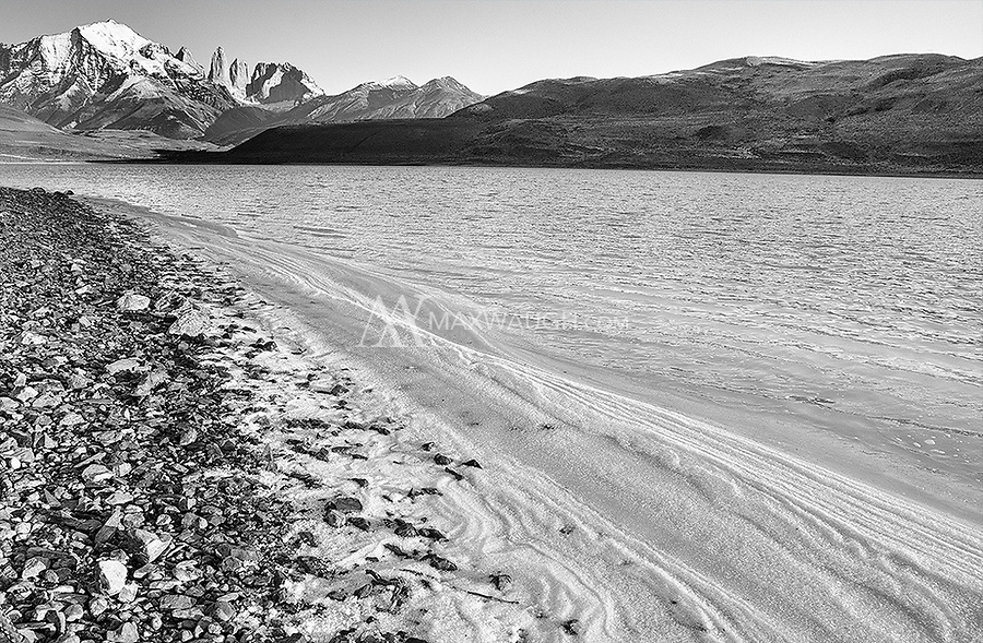 A view of the famed Towers of Paine from the shores of Laguna Amarga.