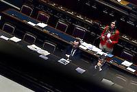 Roma, 27 Aprile 2015<br /> La legge elettorale approda alla Camera dei Deputati.<br /> La Ministra Maria Elena Boschi in rappresentanza del Governo parla in un'Aula semideserta