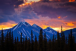 Majestic sunset over Alaska Range, Interior Alaska, Summer.