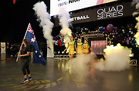15.09.2018 Australia's Caitlin Bassett leads out the team during the Australia v South Africa netball test match at Spark Arena in Auckland. Mandatory Photo Credit ©Michael Bradley.