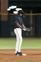 AZL Giants Black left fielder Kwan Adkins (8) stands on second base after hitting a double during an Arizona League game against the AZL Rangers at Scottsdale Stadium on August 4, 2018 in Scottsdale, Arizona. The AZL Giants Black defeated the AZL Rangers by a score of 6-3 in the second game of a doubleheader. (Zachary Lucy/Four Seam Images)