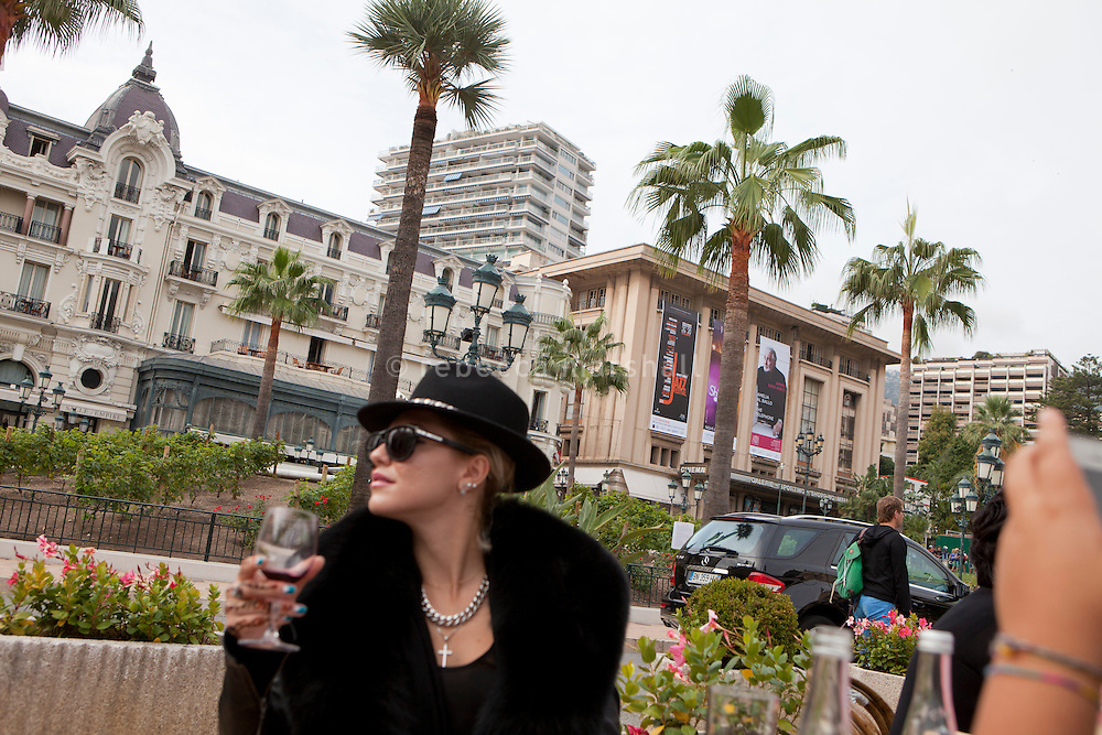 Mid-morning drinks at Café de Paris in Casino Square, Monaco, 18 October 2013. The Hôtel de Paris (left) and Sporting d'Hiver (right) can be seen in the background.