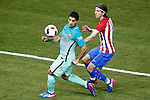Atletico de Madrid's Filipe Luis (r) and FC Barcelona's Luis Suarez during Spanish Kings Cup semifinal 1st leg match. February 01,2017. (ALTERPHOTOS/Acero)
