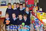 LESSONS: Having fun on their first day at Cloghers National School, Ballymacelligott, Tralee, on Monday were Maurice O'Connell, Eugene Brosnan, Peter Stein, Adam Kelly, Denis Brosnan, Alex Erswell, Ellie Lenihan, Darren Breen, Caoimhe McCarthy and Rachel O'Connor.   Copyright Kerry's Eye 2008