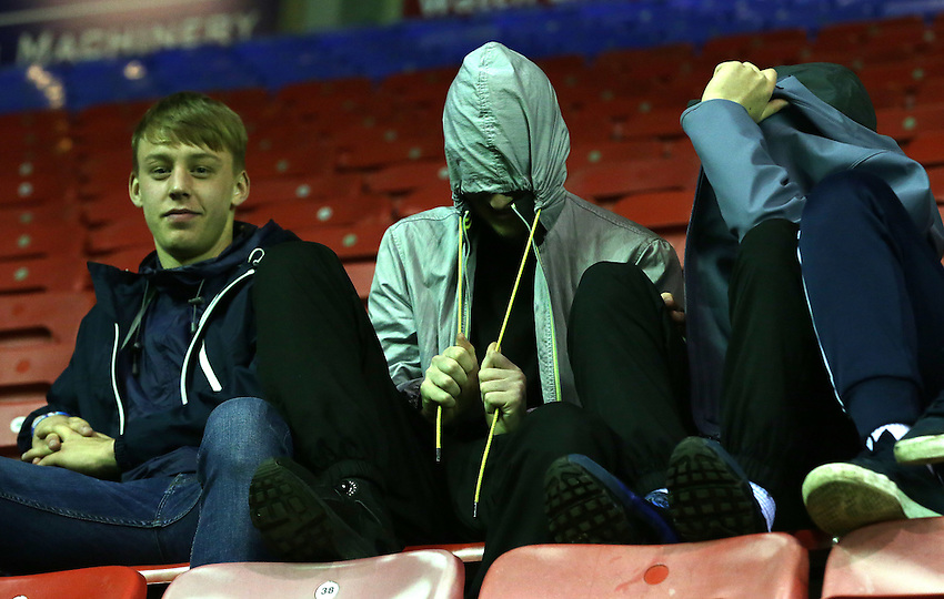 Blackpool fans look forward to watching the match<br /> <br /> Photographer Stephen White/CameraSport<br /> <br /> Football - Johnstone's Paint Trophy Northern Section Quarter Final - Wigan Athletic v Blackpool - Tuesday 10th November 2015 - DW Stadium - Wigan<br />  <br /> &copy; CameraSport - 43 Linden Ave. Countesthorpe. Leicester. England. LE8 5PG - Tel: +44 (0) 116 277 4147 - admin@camerasport.com - www.camerasport.com