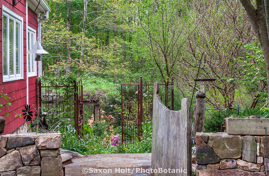 Side yard entry gates into naturalistic woodland  garden, Boninti Garden, Virginia