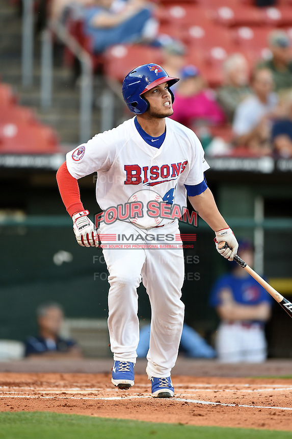 Buffalo Bisons catcher A.J. Jimenez (41) at bat during a game against the Durham Bulls on July 10, 2014 at Coca-Cola Field in Buffalo, New  York.  Durham defeated Buffalo 3-2.  (Mike Janes/Four Seam Images)