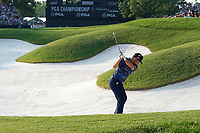 Gary Woodland (USA) hits out of a fairway bunker on the 18th hole during the third round of the 100th PGA Championship at Bellerive Country Club, St. Louis, Missouri, USA. 8/11/2018.<br /> Picture: Golffile.ie | Brian Spurlock<br /> <br /> All photo usage must carry mandatory copyright credit (&copy; Golffile | Brian Spurlock)