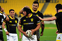 Isaia Walker-Leawere congratulates Sitiveni Paonga on his debut try during the Mitre 10 Cup rugby union match between Wellington Lions and Hawkes Bay Magpies at Westpac Stadium, Wellington, New Zealand on Wednesday, 6 September 2017. Photo: Dave Lintott / lintottphoto.co.nz