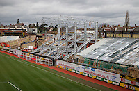The Elton John Stand during construction, Vicarage Road Stadium, Vicarage Road, Watford. England on 02 March 2014. Photo by Andy Rowland.