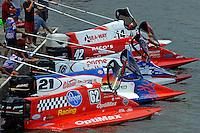 At the start dock, top to bottom: Greg Foster (#14), Shaun Torrente (#42), Tim Seebold (#16), Jose Mendana (#21) and Chris Fairchild (#62)   (Formula 1/F1/Champ class)