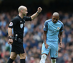Fernandinho of Manchester City reacts to a decision by referee Anthony Taylor during the Premier League match at the Etihad Stadium, Manchester. Picture date: December 3rd, 2016. Pic Simon Bellis/Sportimage