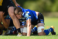 Josh Bayliss of Bath Rugby looks on at a scrum. Bath Rugby pre-season training on August 8, 2018 at Farleigh House in Bath, England. Photo by: Patrick Khachfe / Onside Images