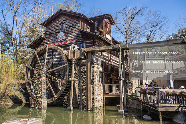 The Dollywood Grist Mill is pictured in Dollywood theme park in Pigeon Forge, Tennessee Friday March 21, 2014. Located in the Knoxville-Smoky Mountains metroplex, Dollywood is a theme park owned by entertainer Dolly Parton and Herschend Family Entertainment.