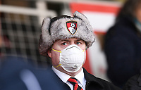 29th February 2020; Vitality Stadium, Bournemouth, Dorset, England; English Premier League Football, Bournemouth Athletic versus Chelsea; A fan with a face mask as concern over Coronavirus reaches Bournemouth
