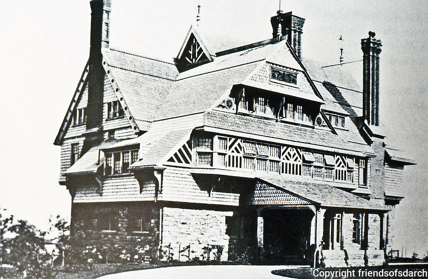 H.H. Richardson: Sherman Watts House, Newport, R. I., 1874-76. Queen Anne style. NHRP 1970.