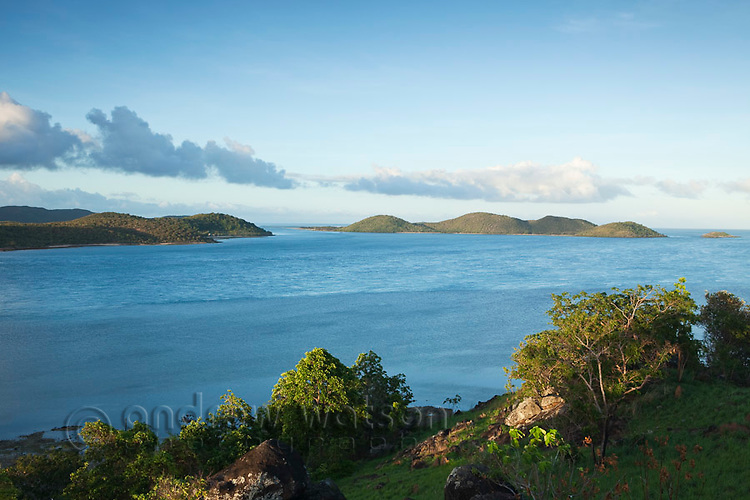View of Prince of Wales Island and Friday Island from Green Hill Fort.  Thursday Island, Torres Strait Islands, Queensland, Australia