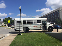 Bus used by Sheriff's deputies to transport inmates to court was parked Tuesday out the Benton County Courthouse Annex.