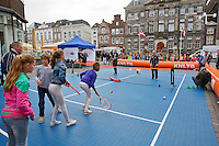 April 17, 2015, Netherlands, Den Bosch, Maaspoort, Fedcup Netherlands-Australia,  Street tennis with Richel Hogenkamp (NED)<br /> Photo: Tennisimages/Henk Koster