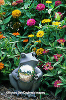 63821-07919 Frog Gazing Ball in Zinnias  Marion Co.  IL