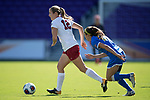 ORLANDO, FL - DECEMBER 03: Kyra Carusa #12 of Stanford University pushes the ball upfield against UCLA during the Division I Women's Soccer Championship held at Orlando City SC Stadium on December 3, 2017 in Orlando, Florida. Stanford defeated UCLA 3-2 for the national title. (Photo by Jamie Schwaberow/NCAA Photos via Getty Images)