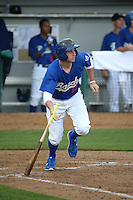 Tim Locastro (15) of the Rancho Cucamonga Quakes bats during a game against the Lake Elsinore Storm at LoanMart Field on April 10, 2016 in Rancho Cucamonga, California. Lake Elsinore defeated Rancho Cucamonga, 7-6. (Larry Goren/Four Seam Images)