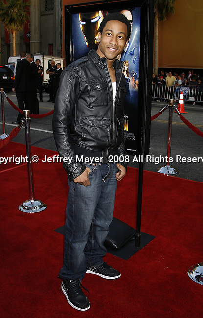 "Actor Brandon T. Jackson arrives to the ""Iron Man"" premiere at Grauman's Chinese Theatre on April 30, 2008 in Hollywood, California."