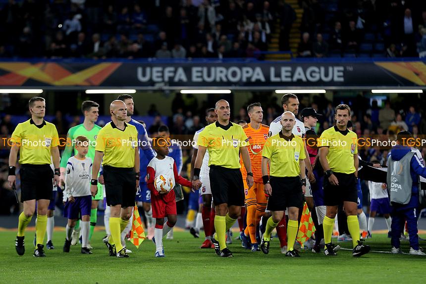 Referee Miroslav Zelinka leads out the two teams during Chelsea vs MOL Vidi, UEFA Europa League Football at Stamford Bridge on 4th October 2018