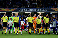 Referee Miroslav Zelinka leads out the two teams during Chelsea vs MOL Vidi, UEFA Europa League Football at Stamford Bridge on 4th October 2018