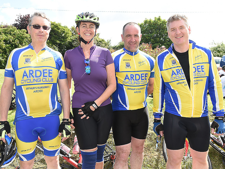 Ollie Arthurs, Linda Martin, Shane O'Brien and John Beirne who took part n the annual Dromin charity cycle in aid of Ardee Hospice.  Photo:Colin Bell/pressphotos.ie