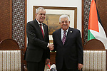 Palestinian president Mahmoud Abbas (R) meets with his Austrian counterpart Alexander Van der Bellen in the West Bank city of Ramallah on February 5, 2019. Photo by Ahmad Arouri