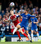 Chelsea's Eden Hazard tussles with Arsenal's Laurent Koscielny during the premier league match at Stamford Bridge Stadium, London. Picture date 17th September 2017. Picture credit should read: David Klein/Sportimage