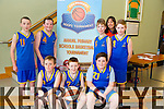 Moyvane NS Aidan Swan, Michéal Kissane and David Sexton Mac Henry.Back L-R Michéal Fogherty, Kieran Swan, Jack O Connor, Conor Hogan and Erica Quinn, coach  at the CBS Primary Hoops Tournament at John Mitchels Sports Hall on Friday