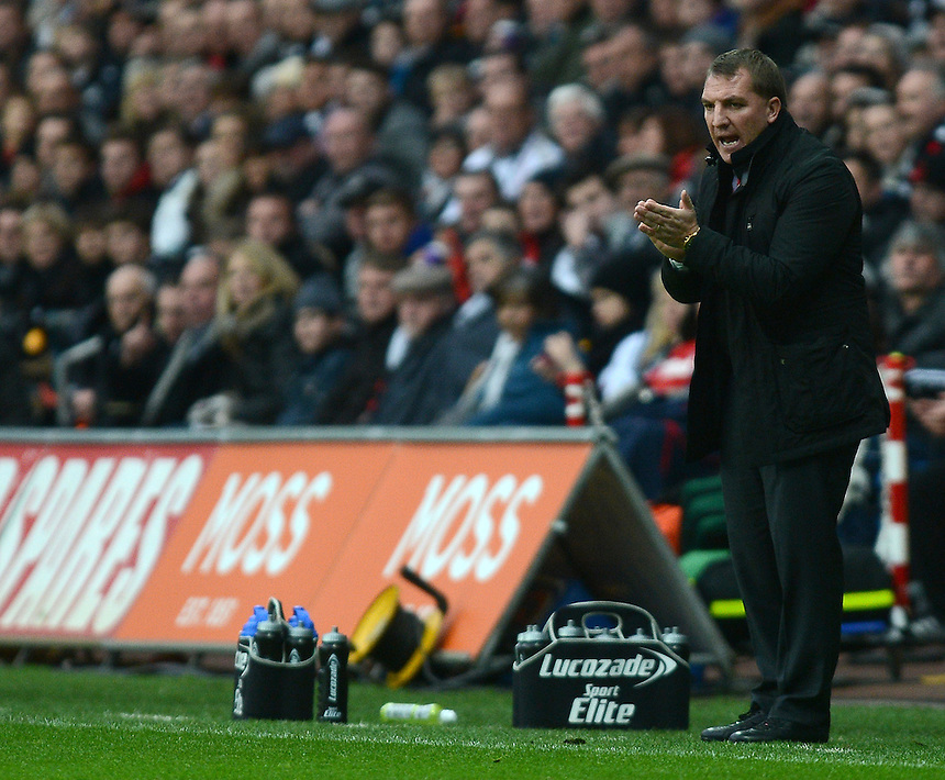 Liverpool's Manager Brendan Rodgers shouts instructions from the technical area ..Football - Barclays Premiership - Swansea City v Liverpool - Sunday 25th November 2012 - The Liberty Stadium - Swansea..