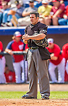 9 March 2013: MLB Umpire Manny Gonzalez stands at home plate during a Spring Training game between the Washington Nationals  and the Miami Marlins at Space Coast Stadium in Viera, Florida. The Nationals edged out the Marlins 8-7 in Grapefruit League play. Mandatory Credit: Ed Wolfstein Photo *** RAW (NEF) Image File Available ***