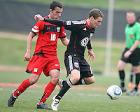 Kurt Mosink (6) of D.C. United turns away from Paul Torres (6)  during a scrimmage against the University of Maryland at Ludwig Field, University of Maryland, College Park, on April  10 2011. D.C. United won 1-0.