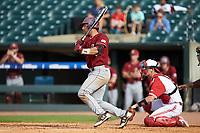 Gian Martellini (2) of the Boston College Eagles follows through on his swing against the North Carolina State Wolfpack in Game Two of the 2017 ACC Baseball Championship at Louisville Slugger Field on May 23, 2017 in Louisville, Kentucky. The Wolfpack defeated the Eagles 6-1. (Brian Westerholt/Four Seam Images)