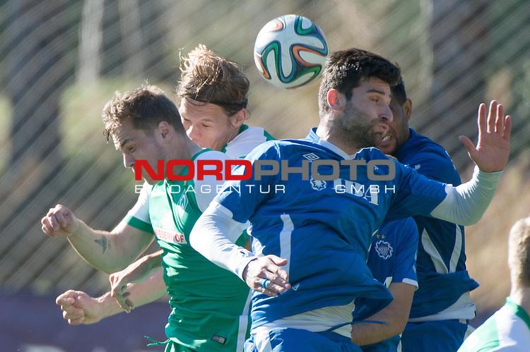 15.01.2016, Kaya Palazzo, Belek, TUR, FSP, Werder Bremen (GER) vs Inter BAKU (AZE),  <br /> im Bild <br /> <br /> Jordan Morris (Werder Bremen Testspieler)<br /> Jannik Vestergaard  (Bremen #7)<br /> Lasha Kasradze (Inter Baku Aserbaidschan) im KOpfballduell<br /> <br /> Foto &copy; nordphoto / Kokenge
