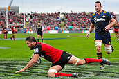 June 3rd 2017, AMI Stadium, Christchurch, New Zealand; Super Rugby; Crusaders versus Highlanders;  Heiden Bedwell-Curtis of the Crusaders scores a try during the Super Rugby match