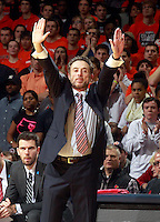 Louisville head coach Rick Pitino calls a play during the first half of an NCAA basketball game against Virginia Saturday Feb. 7, 2015, in Charlottesville, Va. (Photo/Andrew Shurtleff)