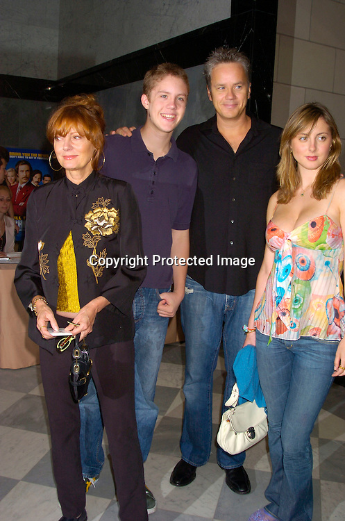 "Susan Sarandon, Tim Robbins, Jack Robbins and Eva Amurri ..at a special screening of ""Anchorman The Legend of Ron Burgundy on July 7, 2004 at The Musuem of TV and Radio..in New York City. Photo by Robin Platzer, Twin Images"