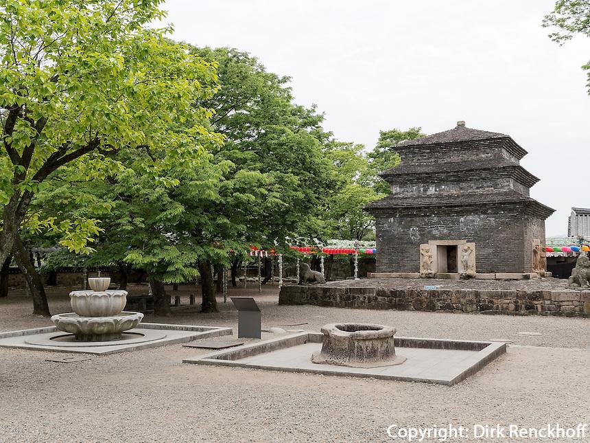 Pagode, buddhistischer Bunhwang Tempel , Gyeongju, Provinz Gyeongsangbuk-do, S&uuml;dkorea, Asien, UNESCO-Weltkulturerbe<br /> pagoda in buddhist temple Bunhwang, Gyeongju,  province Gyeongsangbuk-do, South Korea, Asia, UNESCO world-heritage