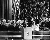 "New York, NY - (FILE) -- United States President Jimmy Carter, U.S. Senator Edward M. ""Ted"" Kennedy (Democrat of Massachusetts), first lady Roslyn Carter, and Amy Carter, join a host of Democratic Party officials on the podium on the last night of the 1980 Democratic National Convention in New York, New York on Thursday, August 14, 1980 in a show of unity after a bruising battle for the party's nomination for President..Credit: Arnie Sachs / CNP"