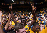 Jabari Bird of California celebrates with the fans after winning the game against Arizona at Haas Pavilion in Berkeley, California on February 1st, 2014.  California Golden Bears defeated Arizona Wildcats, 60-58.