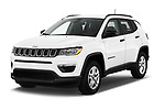 2018 Jeep Compass Sport 5 Door SUV angular front stock photos of front three quarter view