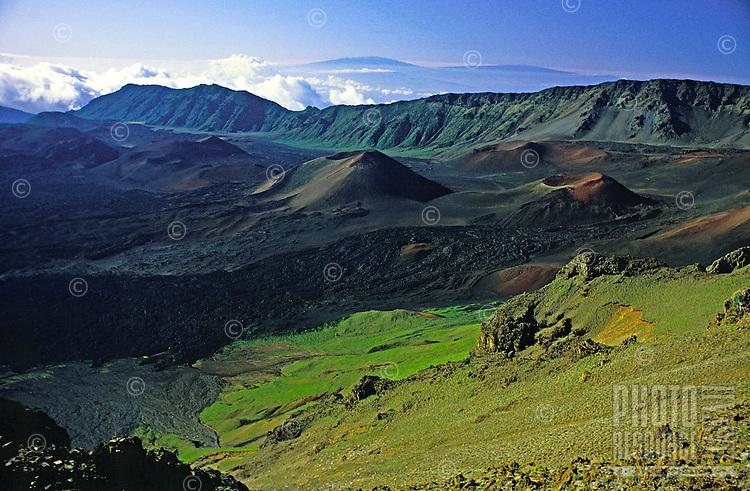 Interior view of Haleakala crater, unusually green with the rainy season.