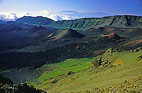Interior view of Haleakala crater, unusually green with the rainy season.