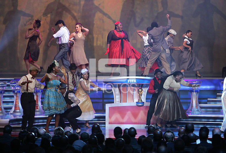 The Soweto Gospel Choir performs during the FIFA Final Draw for the FIFA World Cup 2010 South Africa held at the Cape Town International Convention Centre (CTICC) on December 4, 2009.
